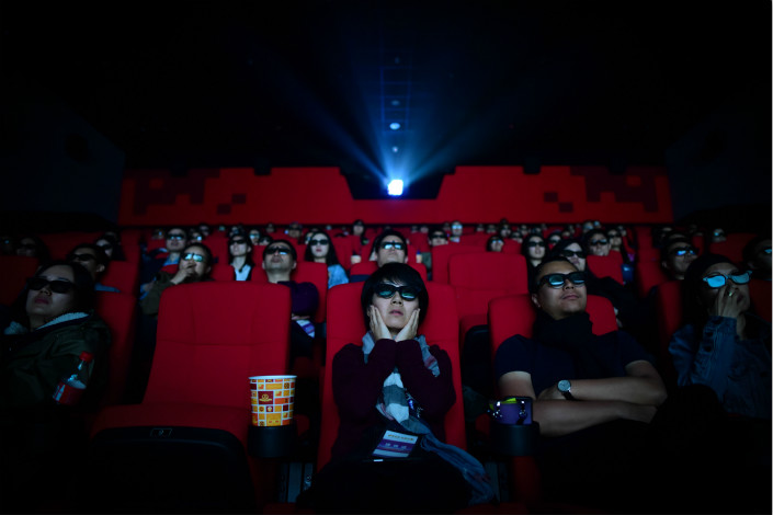 Film goers watch a movie on April 27 at a cinema in Qingdao, East China's Shandong province. Photo: VCG