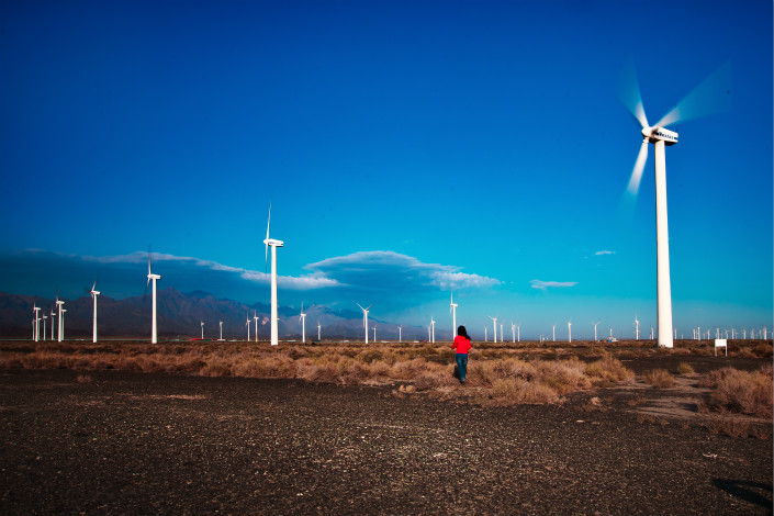 A wind-power generator is seen in the Dabancheng district of Urumqi, the Xinjiang Uygur autonomous region, on Sept. 15. Photo: VCG