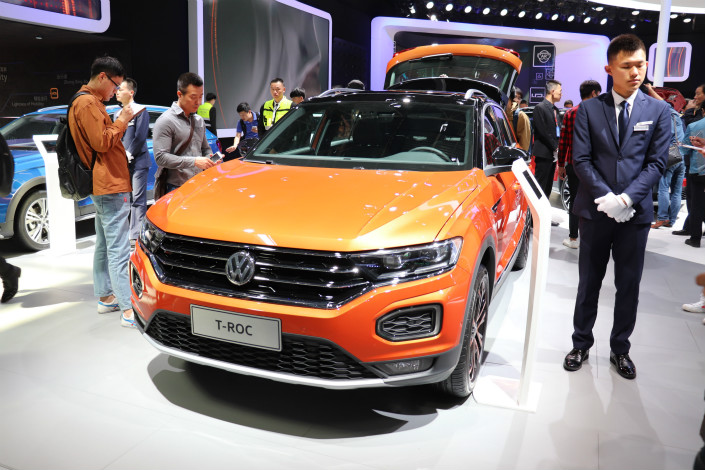 A Volkswagen model sits on display at an auto show in Beijing in April 2008. Photo: IC