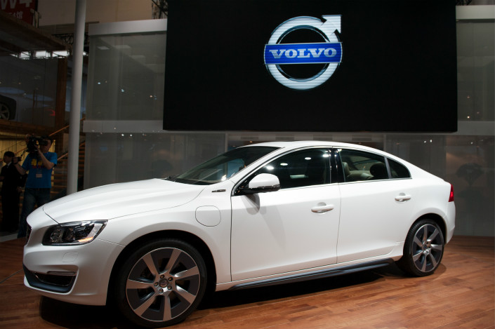 A Volvo S60 sedan sits on display at an auto show in Beijing in April 2014. Photo: VCG