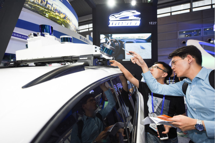 Self-driving car startup Roadstar.ai's wares on display at a tech fair in the southern city of Shenzhen on Nov. 17. Photo: VCG