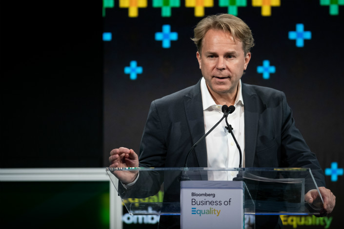 Justin Smith, CEO of Bloomberg Media, speaks during the Bloomberg Business of Equality conference in New York on May 8. Photo: VCG