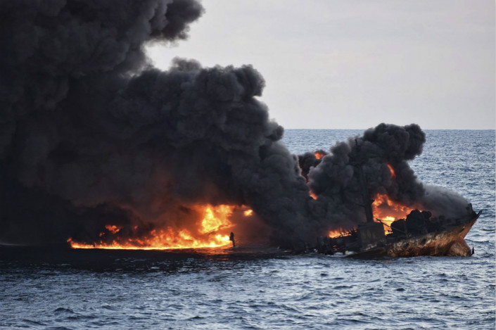 The fire which killed the crew of the Sanchi burned for days after the collison, until the ship sank following an explosion. Photo: IC
