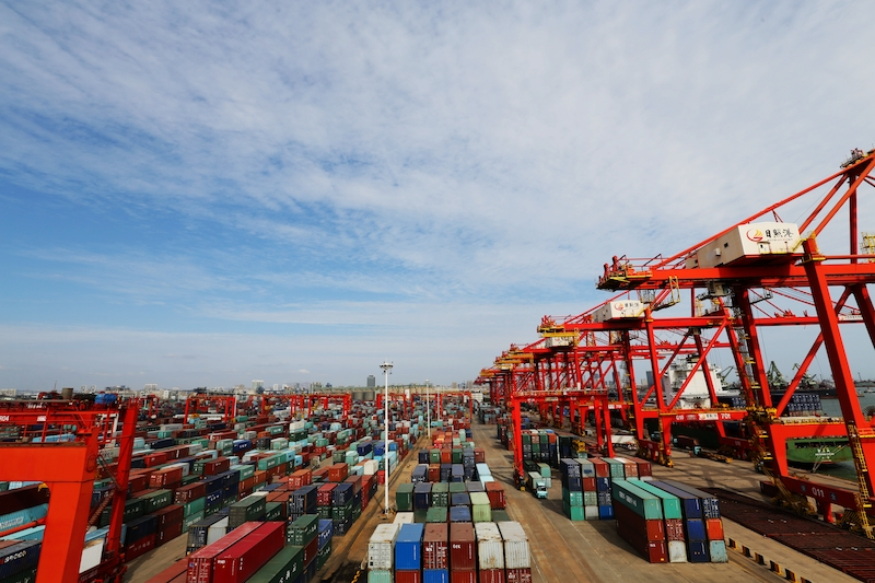 Containers stock in the Port of Rizhao, Shandong province, in October. Photo: VCG