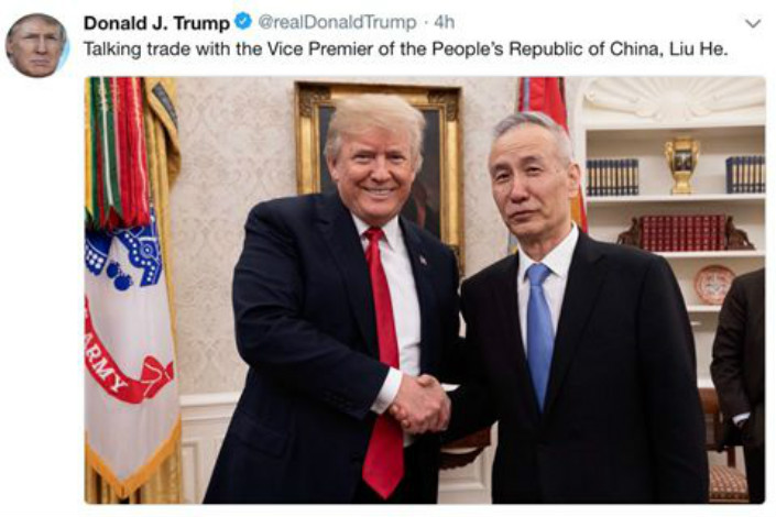 Chinese Vice Premier Liu He met with U.S. President Donald Trump to discuss trade issues on May 17