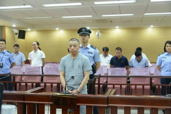 Li Ning at his sentencing on the morning of May 16 at the Guangxi High People's Court. Photo: The official WeChat public account of the Guangxi High People's Court