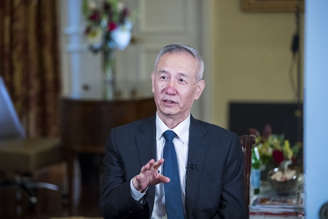 Chinese Vice Premier Liu He at an interview in Washington on Saturday. Photo: Xinhua