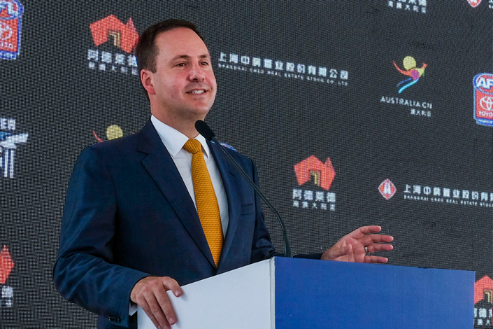 Australian Trade Minister Steven Ciobo speaks at a recent sports event in Shanghai. Photo: Australian Government