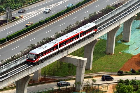 The Maglev Express line in Changsha in a test run in May 2016. Photo: VCG