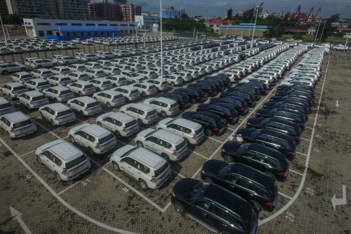 Imported cars wait to be inspected at the Port of Haikou, Hainan province, on June 8. Photo: VCG