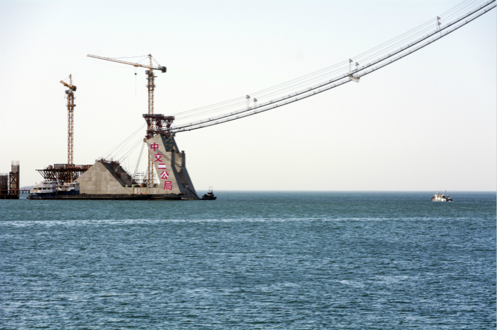 A bridge is built in Dalian, Liaoning province by a China Communications Construction Co. subsidiary in 2014. Photo: IC
