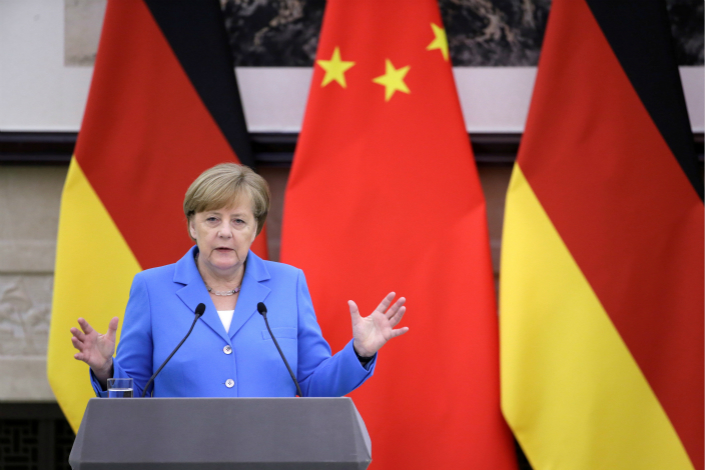 German Chancellor Angela Merkel attends a joint news conference with China's Premier Li Keqiang  at the Great Hall of the People in Beijing on May 24. Photo: VCG
