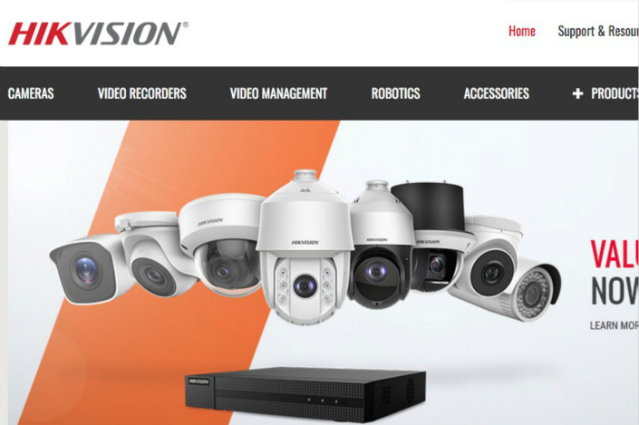 A screen grab shows Hikvision's USA website displaying its surveillance products. Photo: Caixin