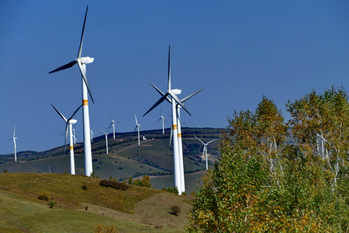 Windmills for wind power are seen in Chengde, Hebei province, on Sept. 11. Photo: VCG