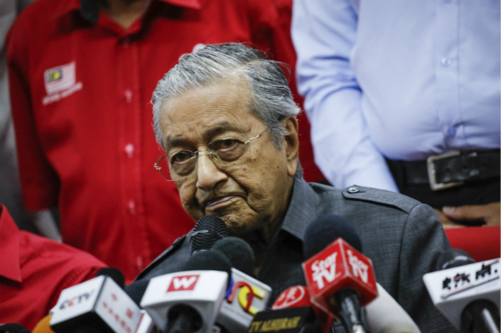 Malaysia's new Prime Minister Mahathir Mohamad speaks at a press conference on May 28. Photo: VCG