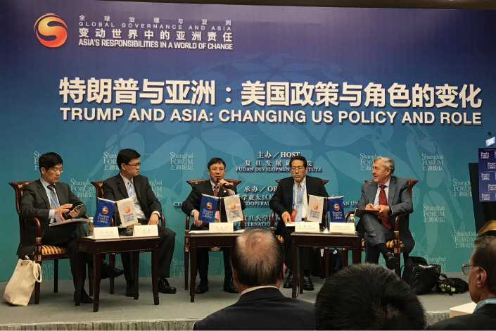 Ahead of the U.S.-North Korea summit, experts debate the changing Asia policy of the U.S. under the Trump administration at the Shanghai Forum on Saturday. Photo: Leng Cheng/Caixin