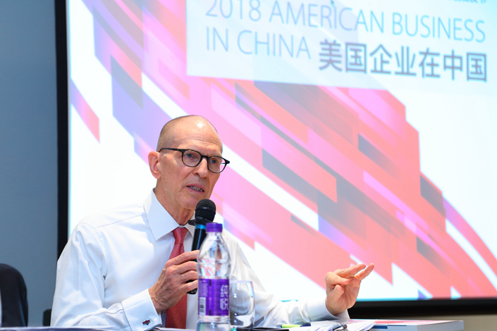 William Zarit, chairman of the American Chamber of Commerce in China, speaks at a press conference in Beijing on Wednesday. Photo: AmCham