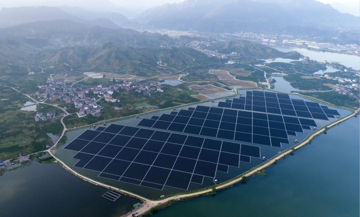 A floating solar energy farm is seen at a photovoltaic power station in Hangzhou, Zhejiang province, on May 17. Photo: IC