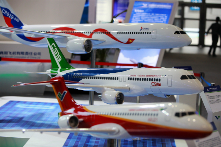 Models of the COMAC C919 and other large domestic aircraft were on display at an exhibition in Fuzhou, Fujian province, on April 24. Photo: VCG