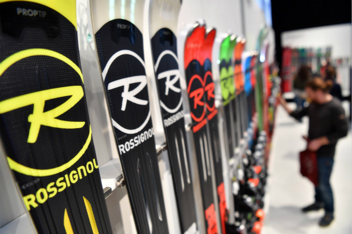 Customers check out Rossignol skis at an event in Germany on Jan. 28. Photo: VCG