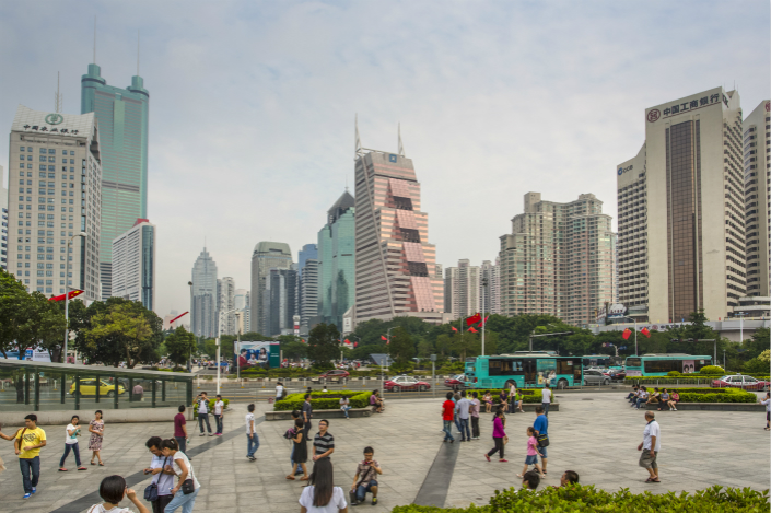 A square in Shenzhen's downtown Luohu district. Photo: VCG