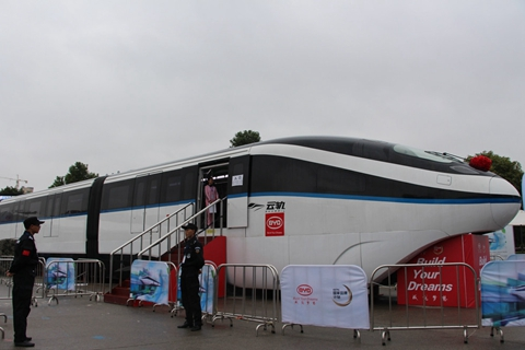 A BYD SkyRail train is shown at an exhibition in Hengyang, Hunan Province, October 2017. Photo: IC
