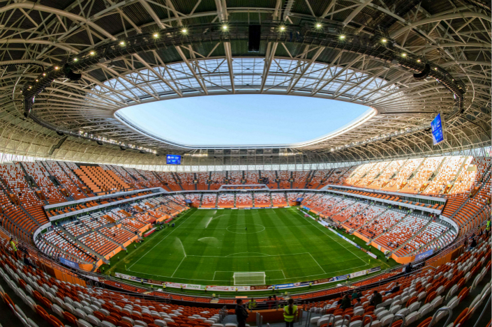 The 44,000-seater stadium Mordovia Arena in the Russian city of Saransk, which will host four group games of the 2018 World Cup. Photo: VCG