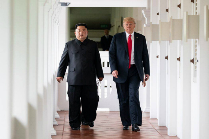 U.S. President Donald Trump and North Korean leader Kim Jong Un meet at Singapore's Capella Hotel on June 12. Photo: VCG