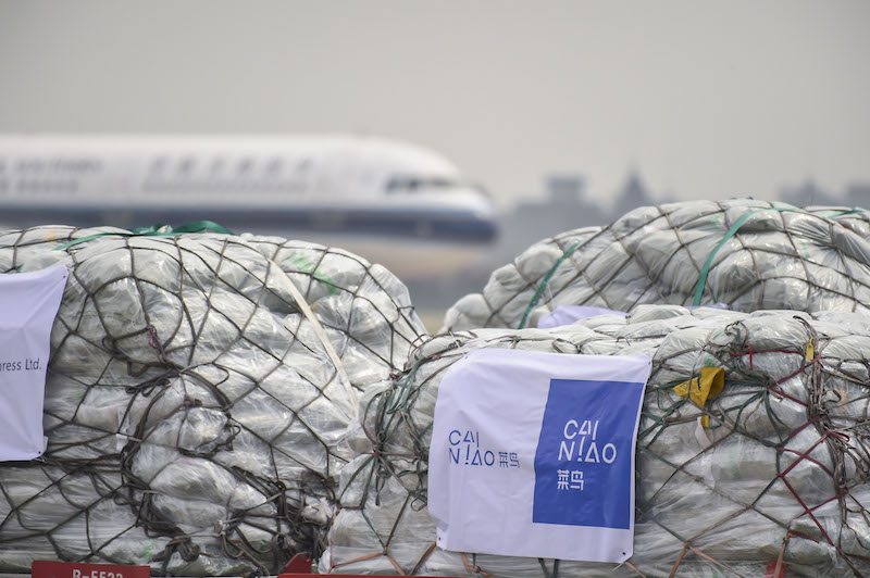 Overseas parcels to be delivered by Cainiao wait at the airport in Hangzhou. Photo: VCG
