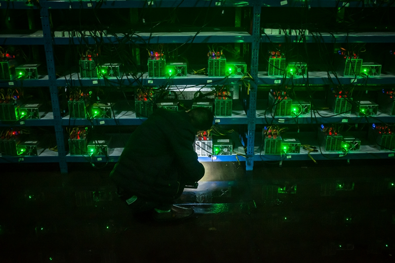 A 24-hour Bitcoin mining facility in Sichuan is seen in September 2016. Photo: VCG