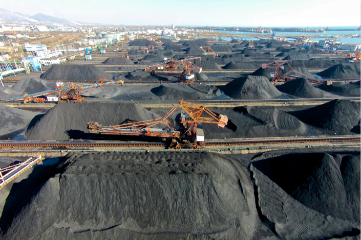 Piles of coal are seen in Qinhuangdao Port in Hebei province in December 2016. Photo: VCG