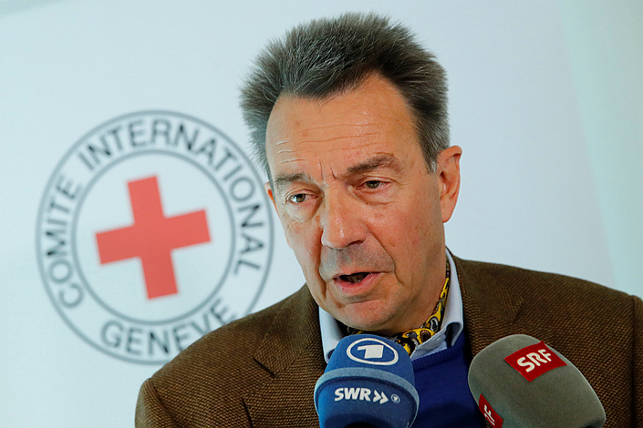 In Switzerland on March 19, International Committee of the Red Cross President Peter Maurer speaks to the media about his recent trip to Syria. Photo: VCG