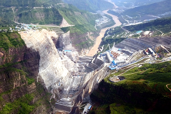 Construction on the Baihetan hydropower station on the Yangtze River in Liangshan prefecture, Sichuan province, is seen on July 27. Photo: VCG