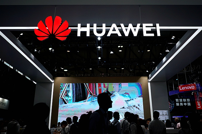 A Huawei sign is seen at the Consumer Electronics Show Asia in Shanghai on June 14. Photo: VCG