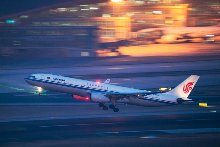 An Air China plane bound for Shanghai takes off at Beijing Capital International Airport on Feb. 6. Photo: VCG