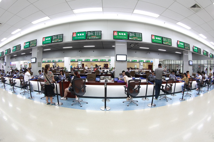 The tax window of the Nantong municipal government affairs service center in Jiangsu province is seen on June 20. Photo: IC