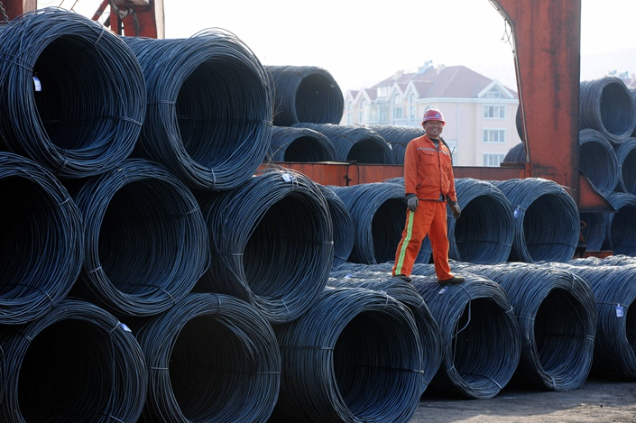 Steel sits at the port of Qingdao in East China's Shandong province in May 2015. Photo: VCG