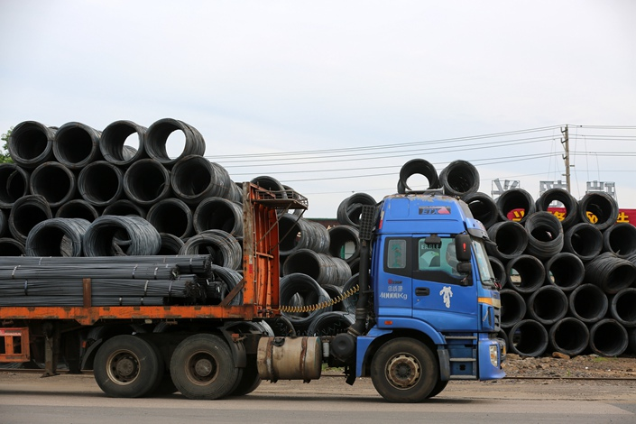 Steel is delivered to a market in Haikou, Hainan province, on Saturday. Photo: VCG