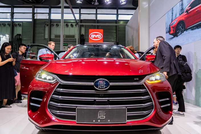 Electric automaker BYD showcases one of its vehicles at an industry event in Shanghai on June 14. Photo: VCG