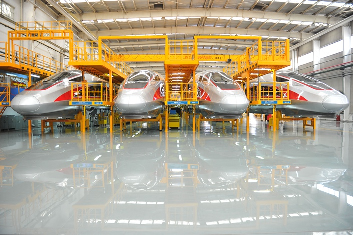 High-speed trains are assembled in a factory in Qingdao, Shandong province on June 8. Photo: VCG