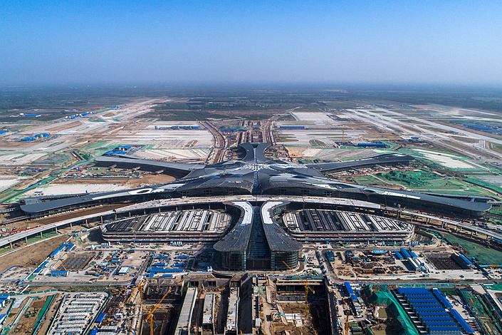 An aerial view of the new airport under construction in Beijing on May 23, 2018. Photo: VCG