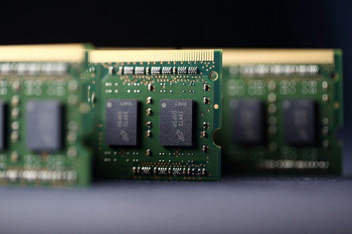 Micron Technology Inc. computer chips are seen in Tokyo in July 2015. Photo: VCG