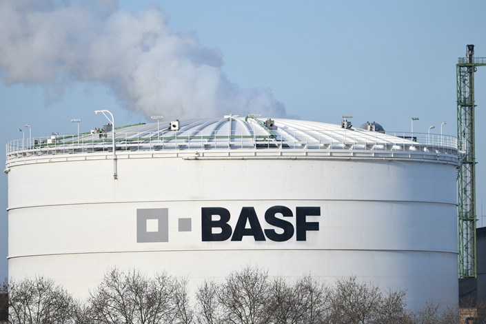 Chemical giant BASF's logo marks a factory in Germany on Feb. 27. Photo: IC