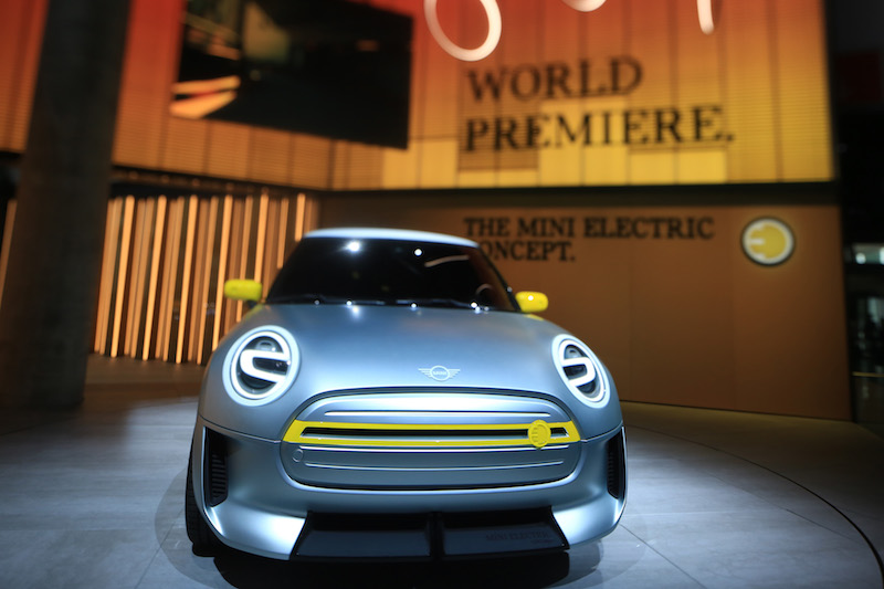 The Mini electric concept vehicle, manufactured by BMW, sits on display during the IAA Frankfurt Motor Show in Frankfurt, Germany, in September, 2017. Photo: VCG
