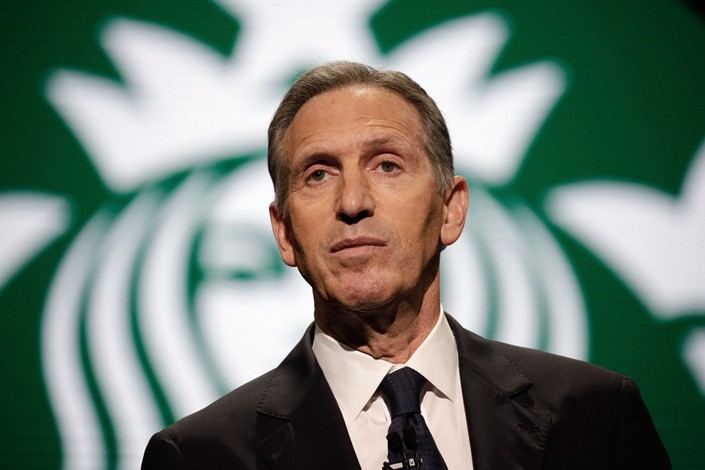 Then Starbucks Chairman and CEO Howard Schultz speaks at an annual Starbucks shareholders' meeting on March 22, 2017 in Seattle, U.S. Photo: VCG