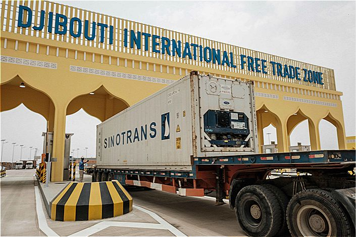 A truck passes through the main gate of the Djibouti International Free Trade Zone after the inauguration ceremony on July 5. Photo: VCG