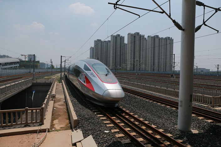 A bullet train on the Beijing-Shanghai high-speed rail line leaves Beijing South Railway Station for Shanghai in June 2017. Photo: IC