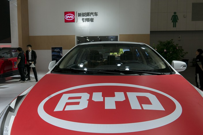 BYD Co. Ltd. new-energy vehicles are exhibited at the 17th Tianjin International Automobile Trade Exhibition on April 28. Photo: VCG