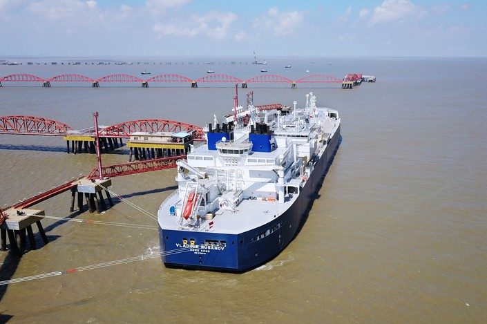 The Vladimir Rusanov, a natural-gas carrier for the Sino-Russian Yamal LNG project, docked at Rudong, Jiangsu province, on Thursday. Photo: VCG