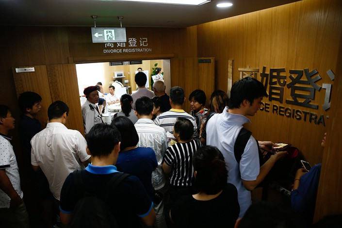 Divorce registration offices in Shanghai's Xuhui district civil affairs bureau are seen in August 2016. Photo: VCG